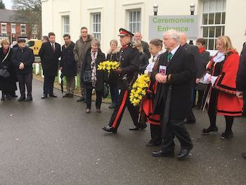 Sandwell Mayor with wreath at Sandwell Holocaust Memorial