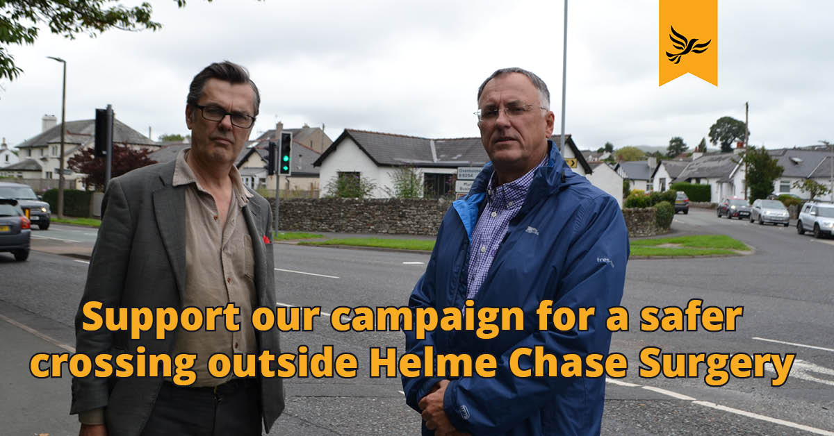 Support our campaign for a safer crossing outside Helme Chase Surgery
