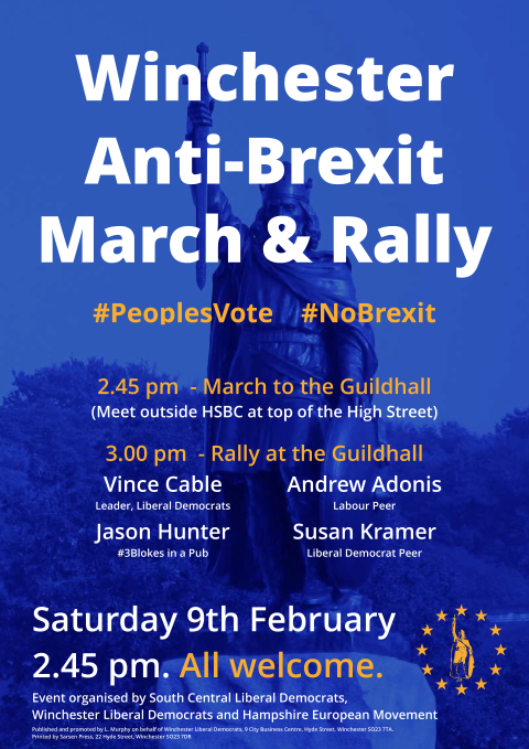 Winchester Anti-Brexit March & Rally Poster