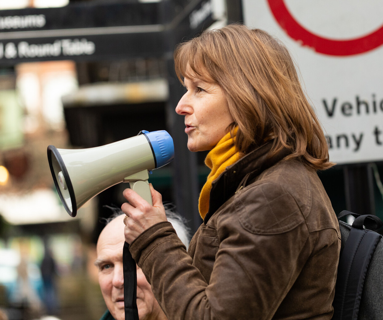 Paula Ferguson, with megaphone, leading Winchester's Brexit protest March