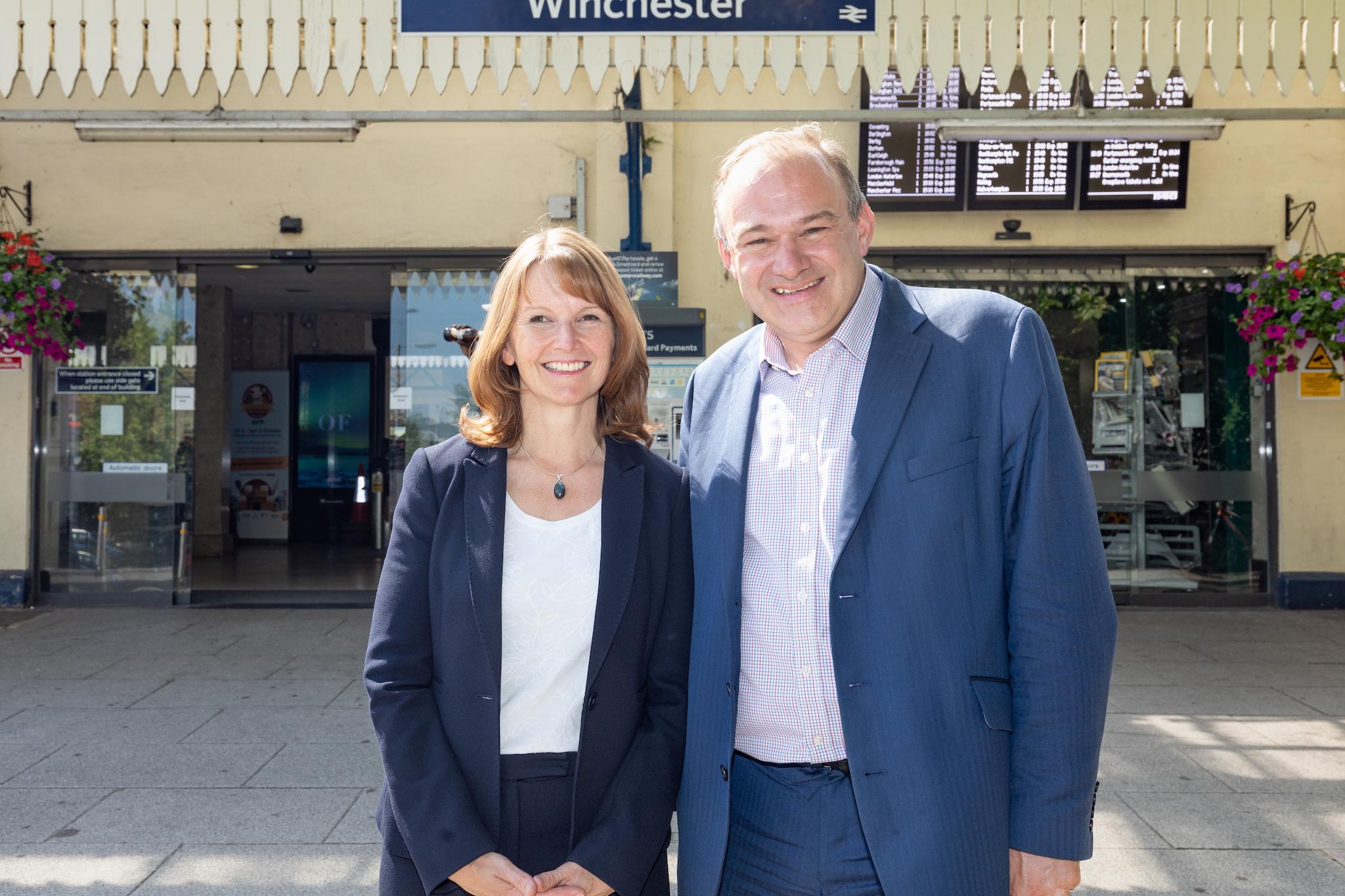 Paula Ferguson & Ed Davey at Winchester Rail Station