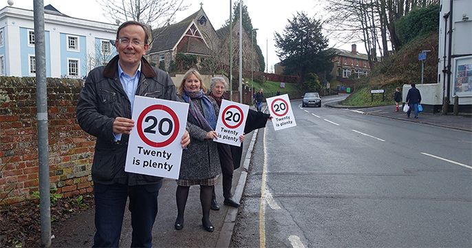 Martin, Lucille and Liz campaigning for 'Twenty is plenty'