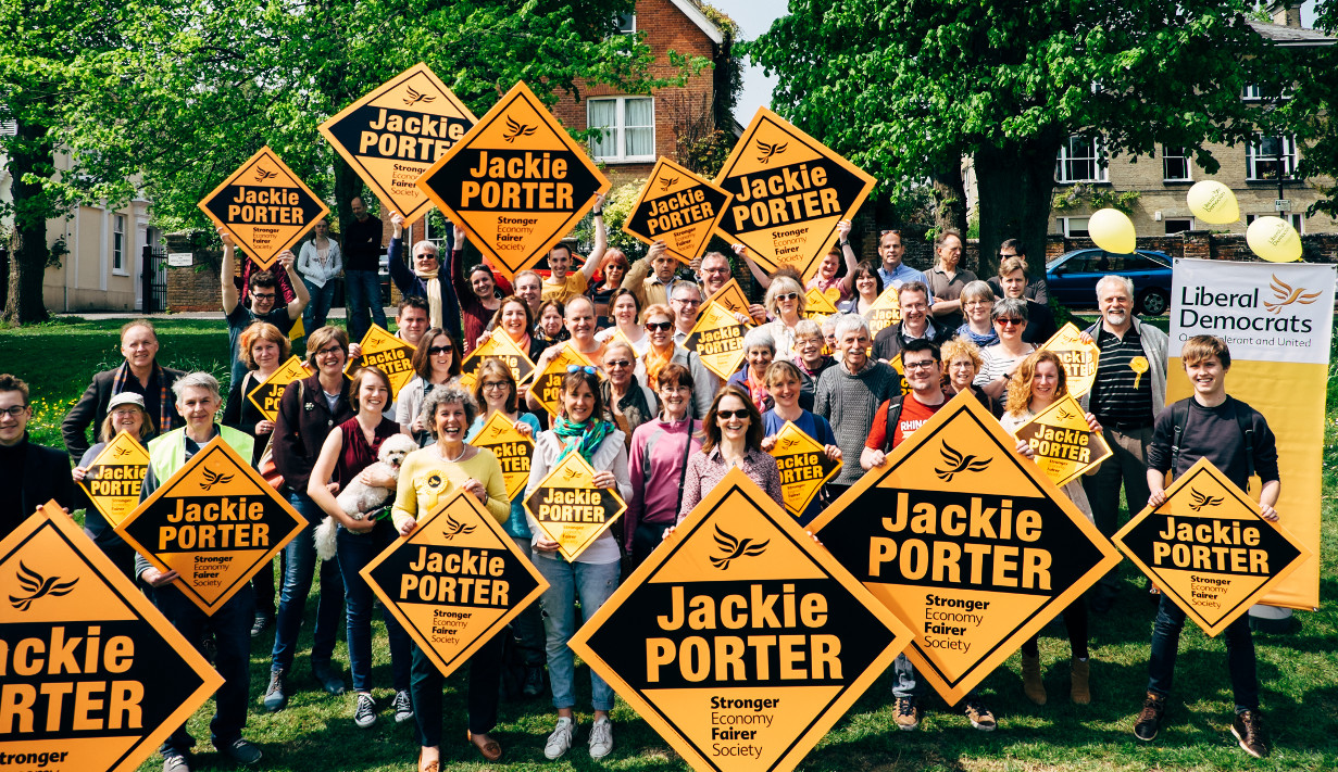 Jackie with a crowd of supporters