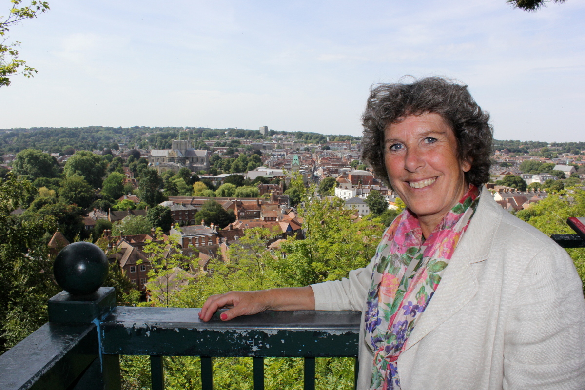 Jackie Porter with a view over Winchester