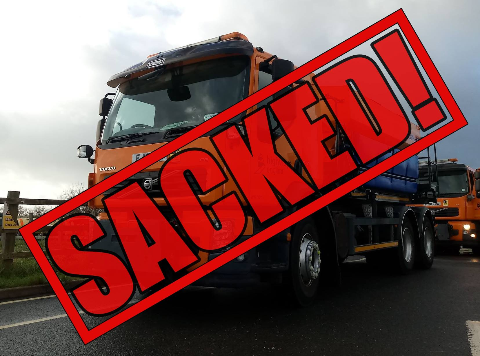 Gritter with sacked imposed on front