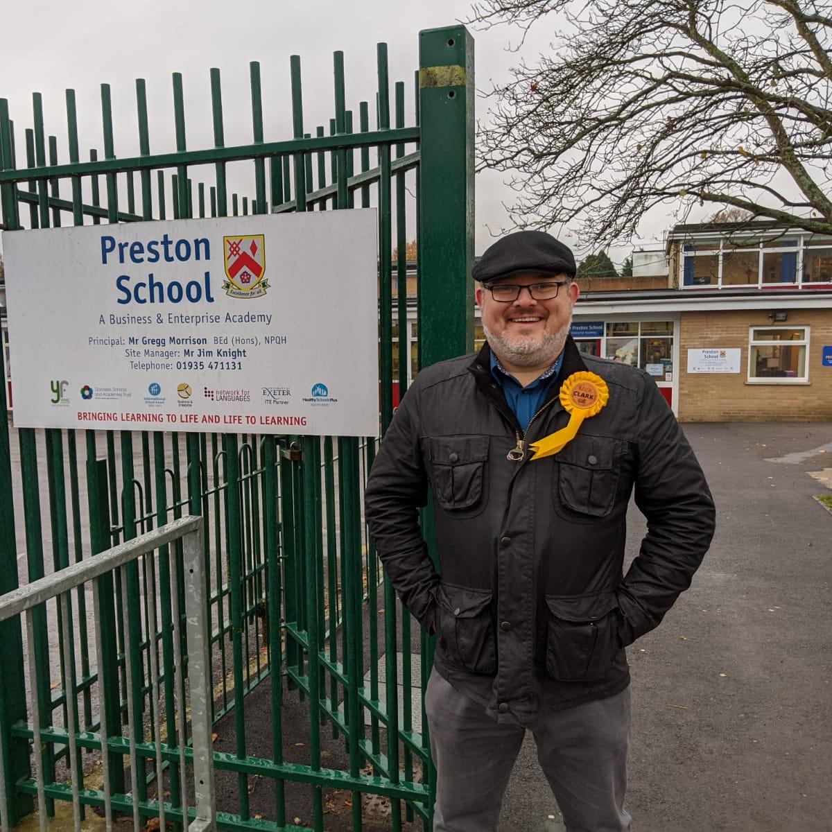 Mick Clark outside his old school, Preston School