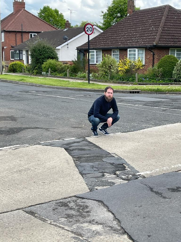 Cllr Nigel Ayre at the site of scheduled road works