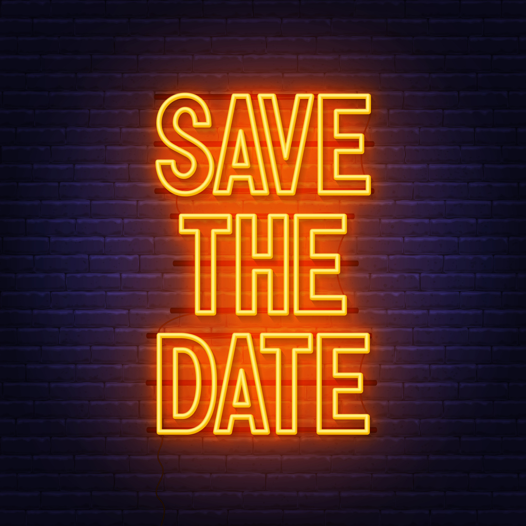 Save the date text in neon on wall