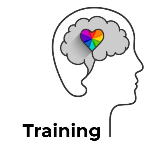 A brain with a rainbow heart
