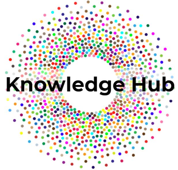 Knowledge Hub logo - circular with rainbow dots converging.