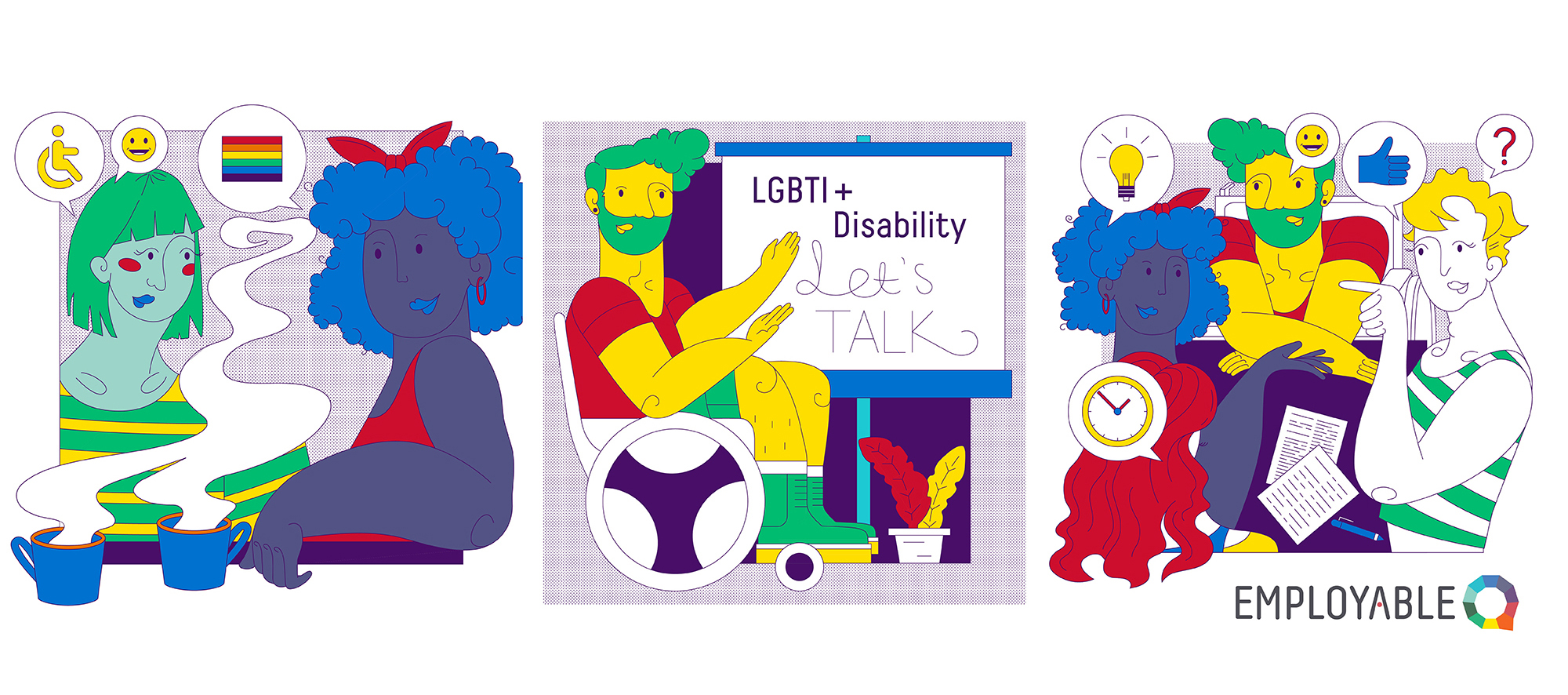 Banner image of illustrated characters in their inclusive workplaces
