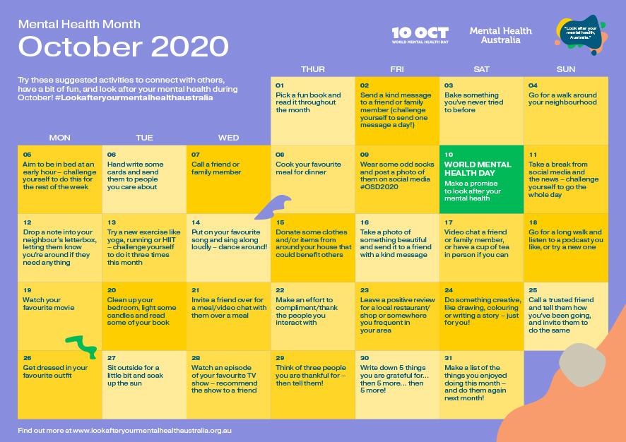 Mental Health Month Calendar Link