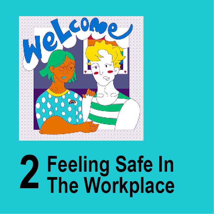 Feeling Safe in the Workplace. Illustration of two people talking - Welcome.