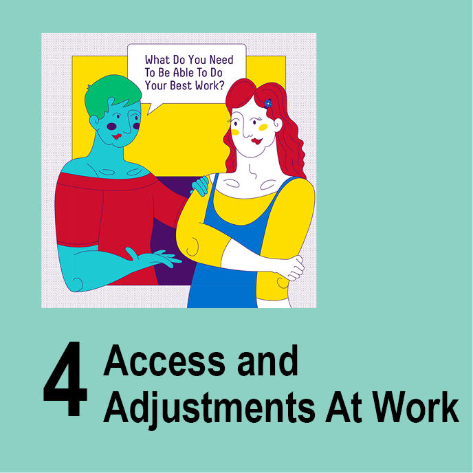 Access and Adjustments at Work - Two people talk \