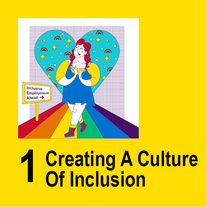Creating a Culture of Inclusion - Illustration of a character on a rainbow road.