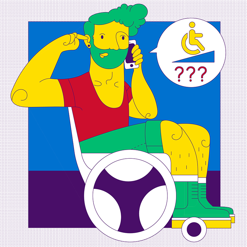 Man in wheelchair asks about ramp in cartoon style