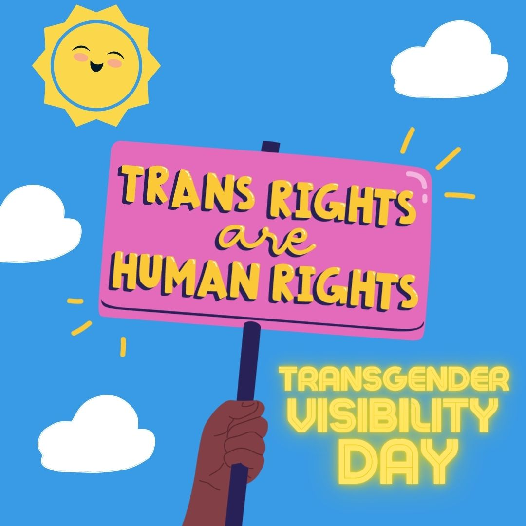 "A dark skined illustrated hand waves a sign saying ""Trans Rights are Human Rights"" over a blue sunny sky."