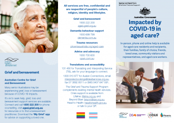Brochure cover - which has elderly folks and the pride and trans flags