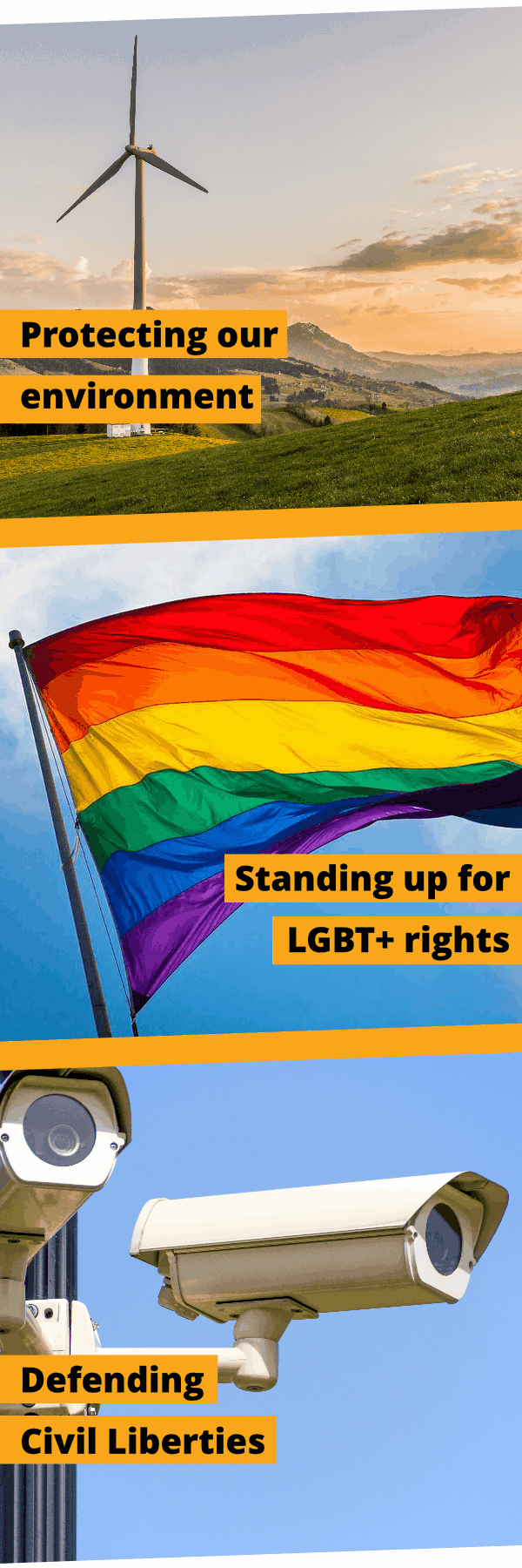 Protecting our environment, standing up for LGBT+ rights and defending civil liberties.