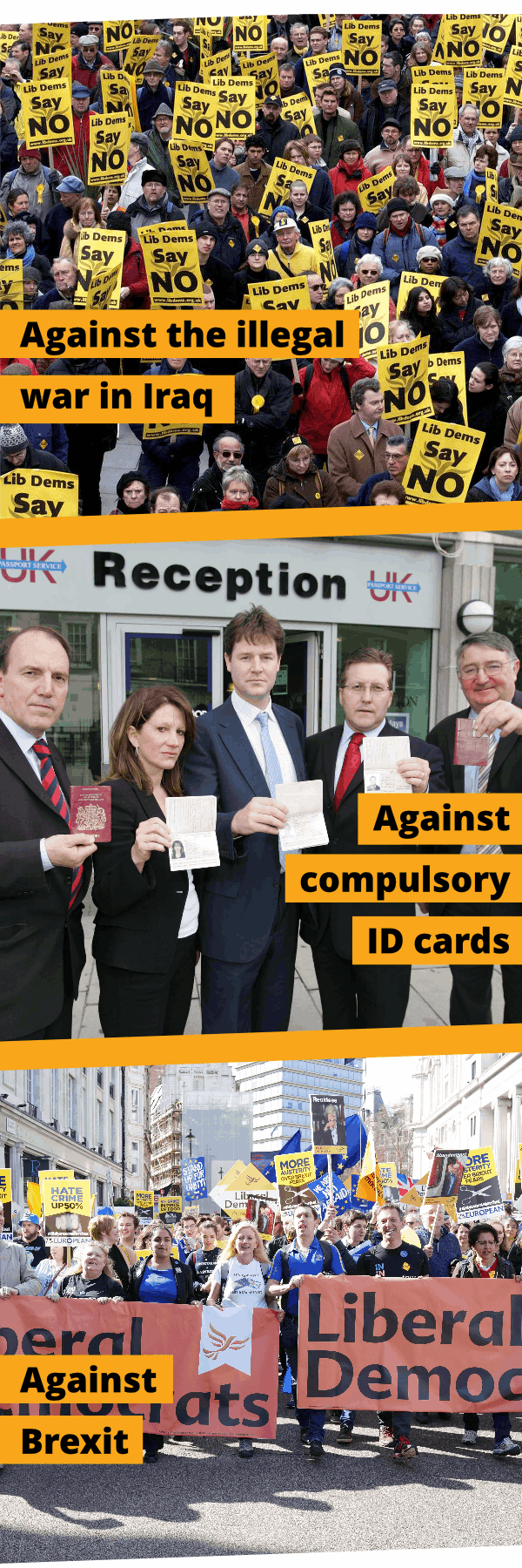 Against the Iraq War, against compulsory ID cards and against Brexit