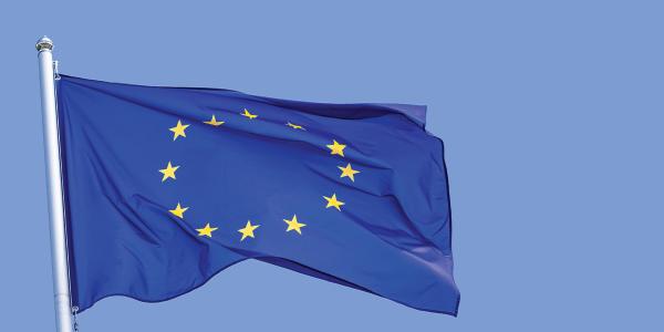 A flying EU flag