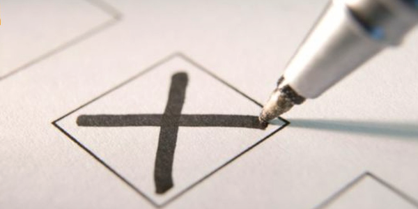 A cross is drawn on a ballot paper