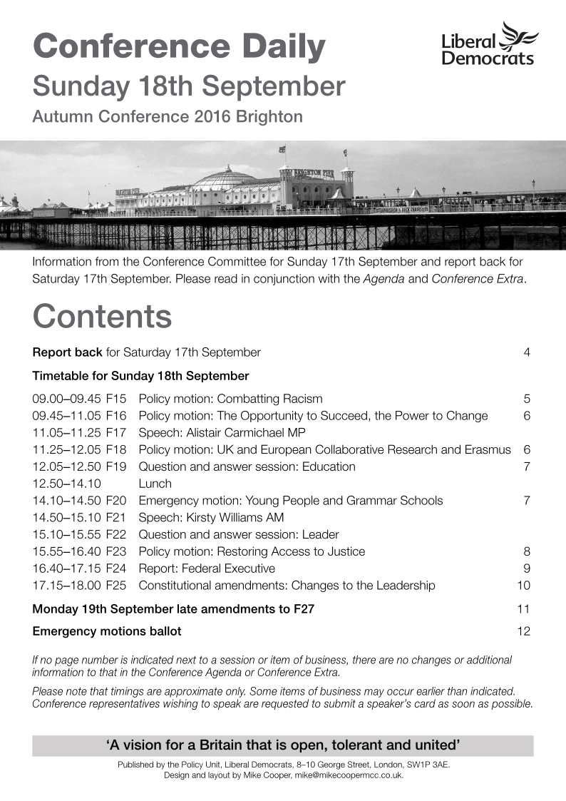 Conference Daily - Sunday 18th September