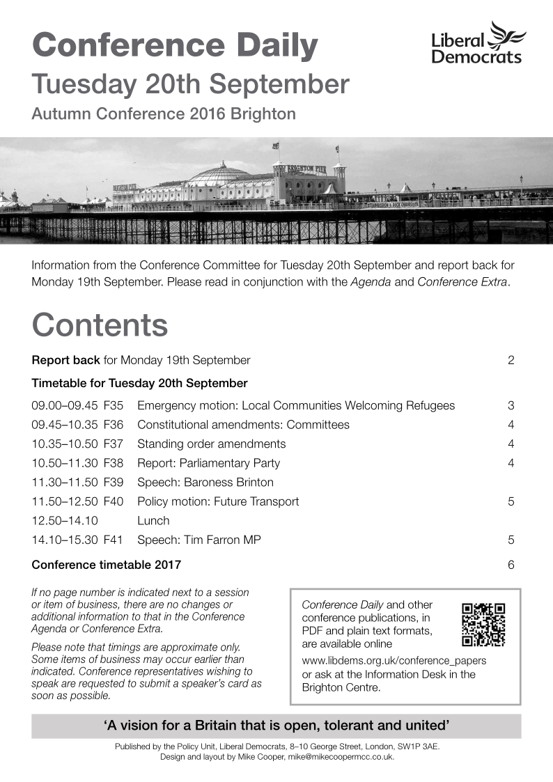 Conference Daily - Tuesday 20th September