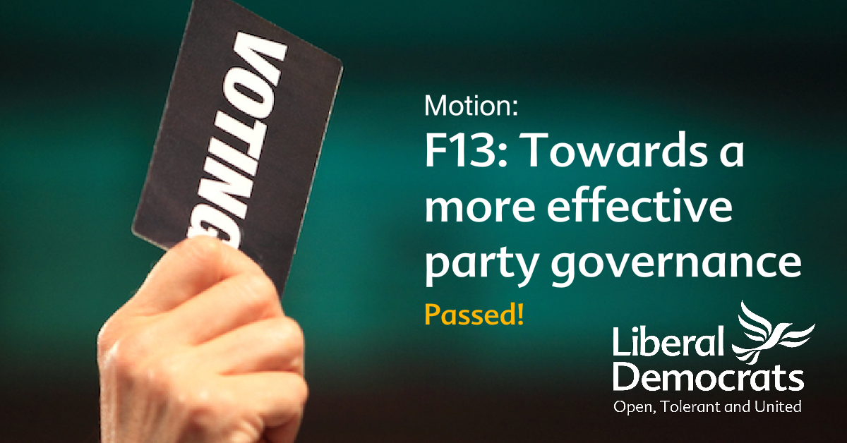F13:	Towards a More Effective Party Governance