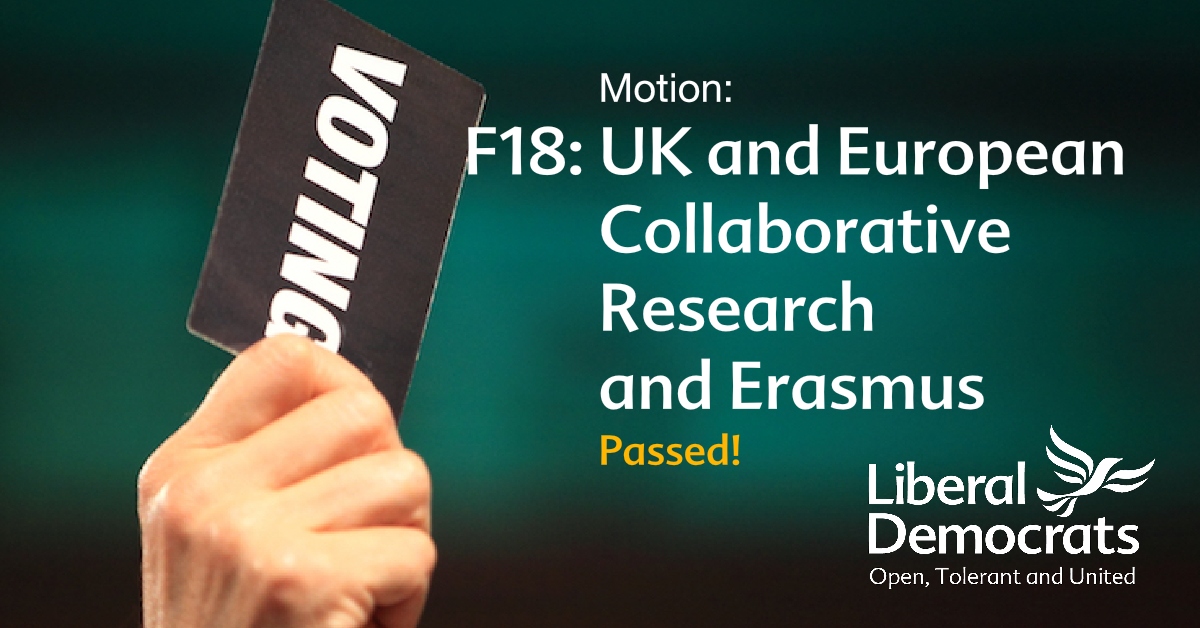F18	UK and European Collaborative Research and Erasmus