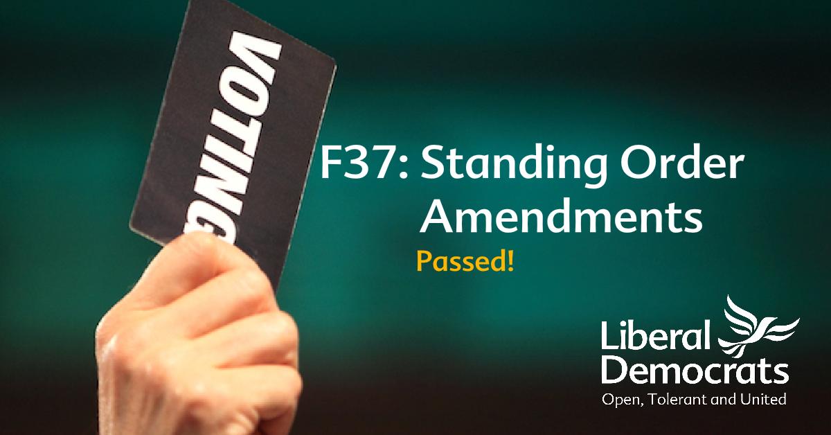 F37: Standing Order Amendments