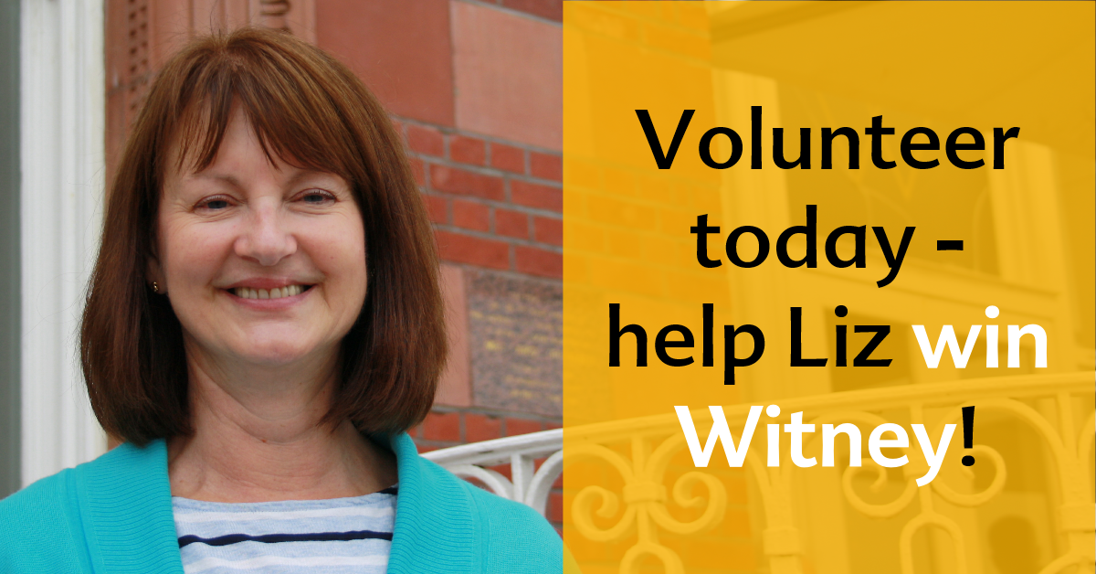 Volunteer and help Liz win