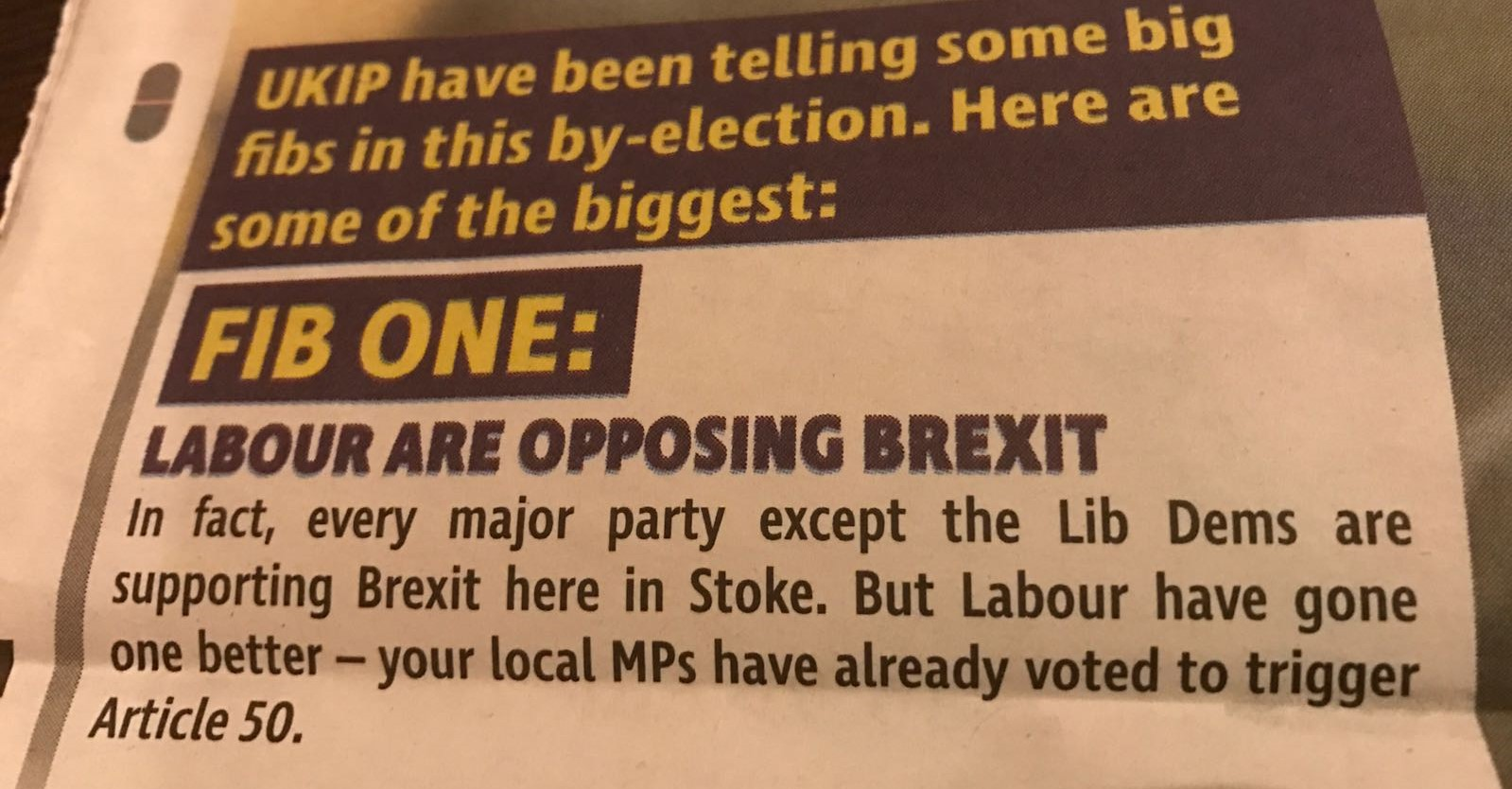 Labour leaflet delivered in Stoke-on-Trent