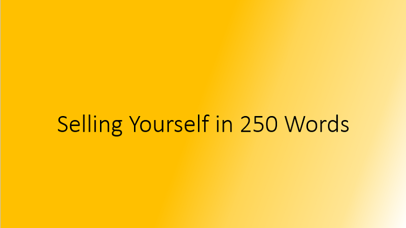 Selling Yourself in 250 Words