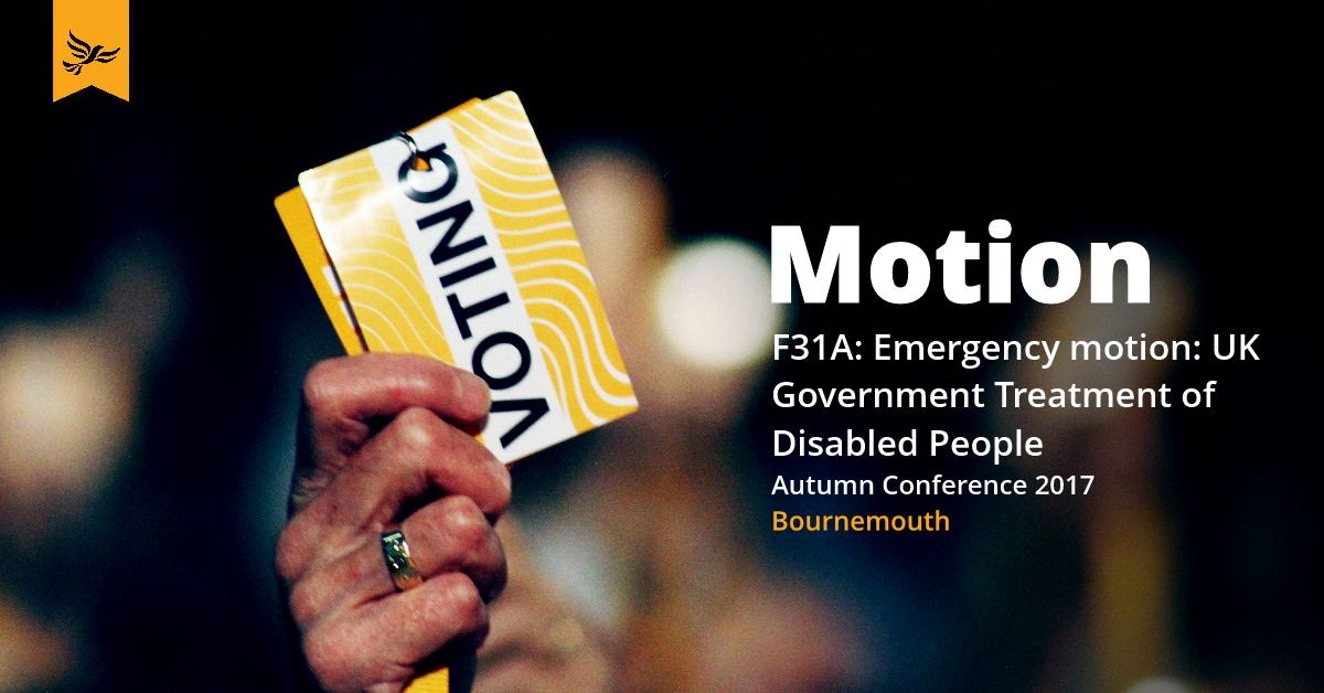 F31A: Emergency motion: UK Government Treatment of Disabled People