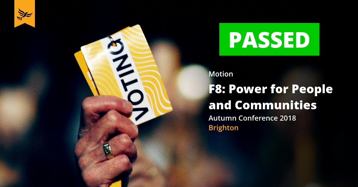 F8: Power for People and Communities (Local Government and Community Empowerment Policy Paper)