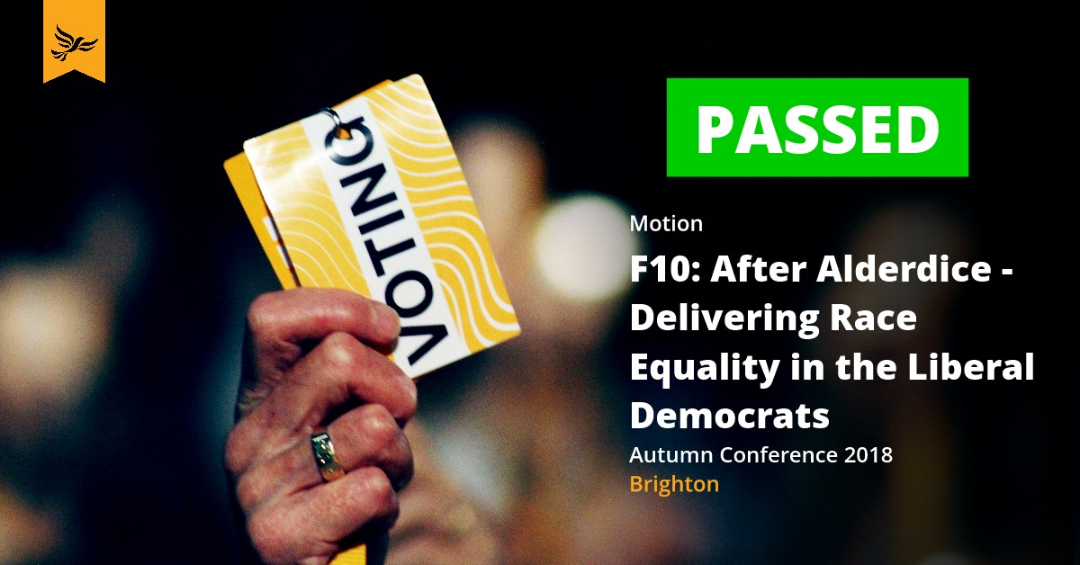 F10: After Alderdice - Delivering Race Equality in the Liberal Democrats