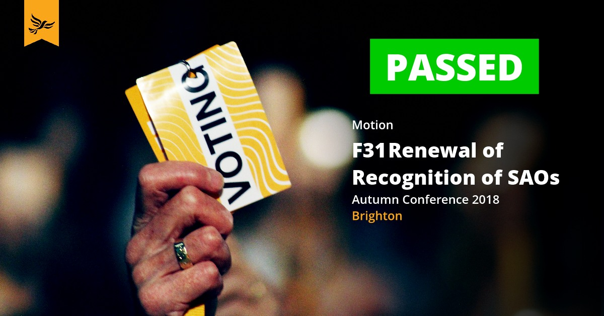 F31	Renewal of Recognition of SAOs