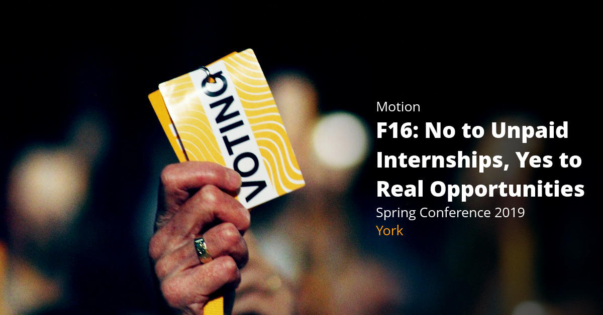 F16: No to Unpaid Internships, Yes to Real Opportunities