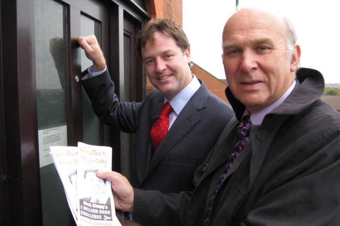 Nick Clegg and Vince Cable knocking on a door