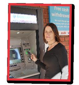 Jane at a cashpoint