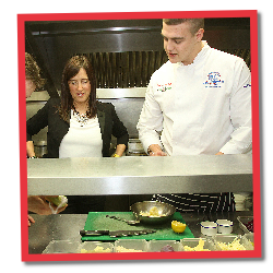 Jane talking to a young chef