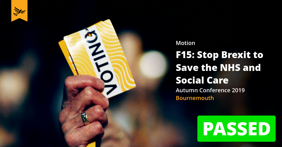 F15: Stop Brexit to Save the NHS and Social Care