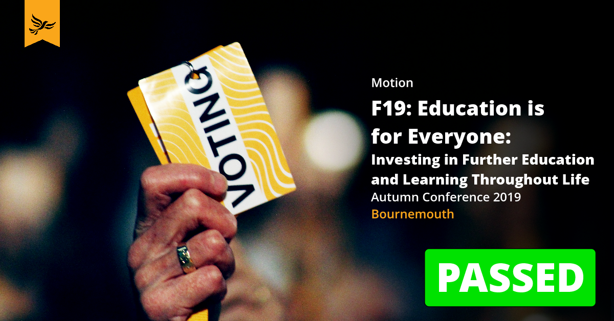 F19: Education is for Everyone: Investing in Further Education and Learning Throughout Life
