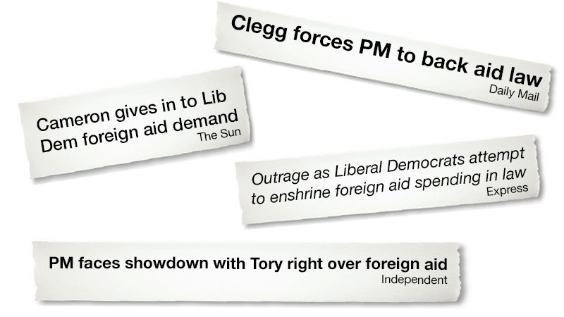 Lib Dems force Cameron to back aid law