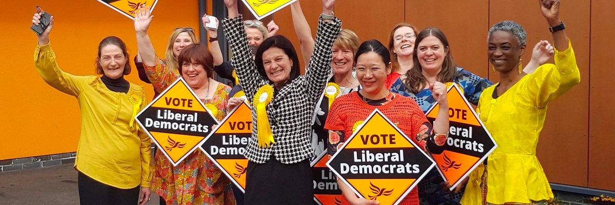 Liberal Democrats celebrating victory in South Cambridgeshire