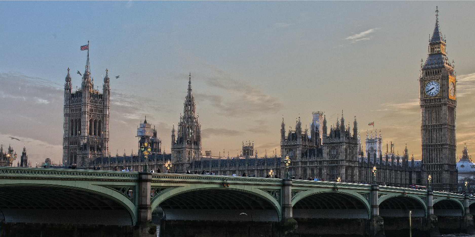 The Houses of Parliament photographed from across the river