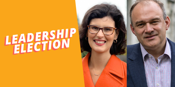 Photos of Ed Davey and Layla Moran, text reads 'leadership election'