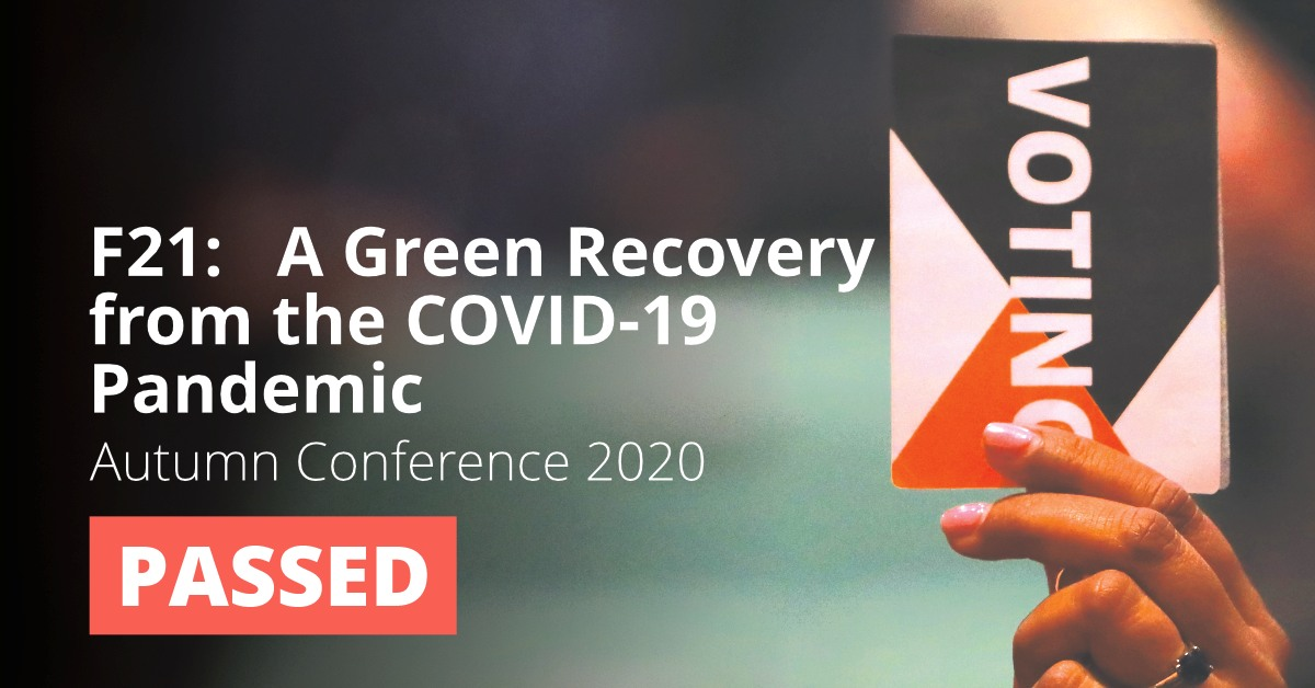 F21: A Green Recovery from the COVID-19 Pandemic