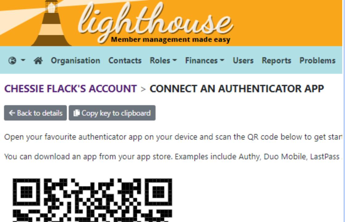 Authenticator app QR code